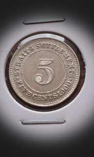 UNC Straits 1900 Silver 5 Cents