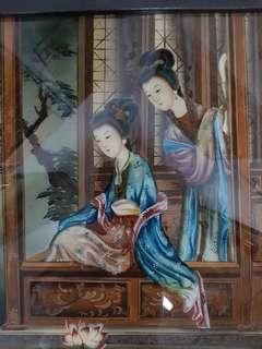 玻璃板画。Vintage glass painting of ladies.
