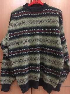 Knitted Pullover sweater winter travel 100% pure wool