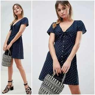😊Casual Mini  button down dress