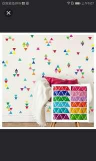 Mix 13 Colourful Triangle wall stickers 🔵SIZE 8cm RM90=65pcs