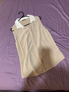 Light khaki sleeveless blouses