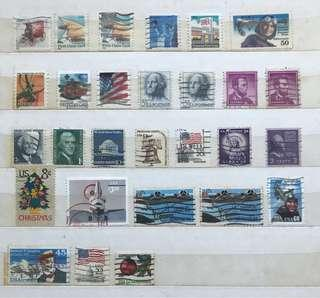 🇺🇸 二手 100%真品 美國 USA 郵票 Stamps 共28個