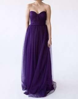 Long Tulle Convertible Evening Dress Gown (Purple)