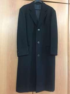 Black long trench Coat shoulder 49cm x chest 55cm wool