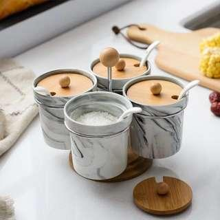 (Instock) Rotating Marble Condiment Jars of 4