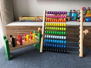 Wooden Ikea Abacus & Hammering Toy
