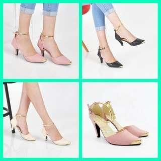 high heels warna pink hitam cream