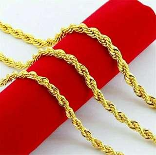 🚚 316L Stainless Steel Gold Plated Soft Twist Rope Chain Necklace (58cm)