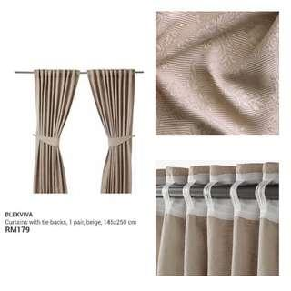 Ikea(New In Packaging) Curtain, 1 Pair(2Pcs), Beige (145x250cm)