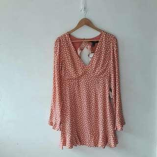 F21 CORAL PRINTED WOVEN DRESS
