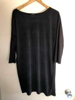 Oversized black tee dress