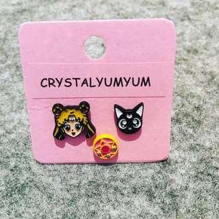 Japanese Anime SailorMoon And Car Silver stud earrings