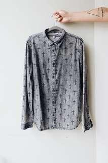 Divided by H&M Grey Long Sleeves with Cross Print