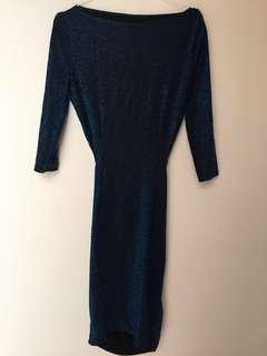 Dress Pesta Blue Metalik