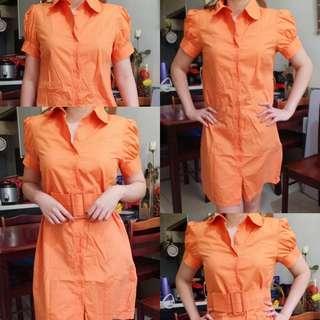 Orange Button down Dress