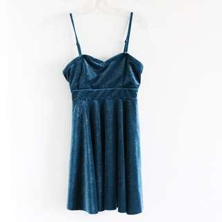 Free People blue sparkly velvet dress S small stretch