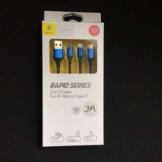 Baseus Rapid Series 3-in-1 Cable for iP+Micro+Type-C 120CM