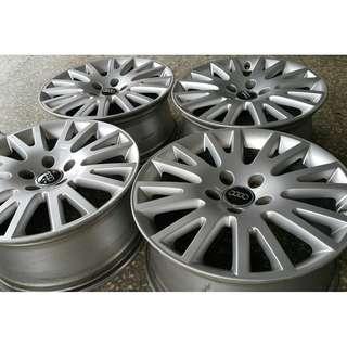 17吋 奧迪 Audi A4 原廠鋁圈 5/112 7.5J ET45 66.5 真圓無變型 原廠銀蓋/副廠黑蓋兩款選擇