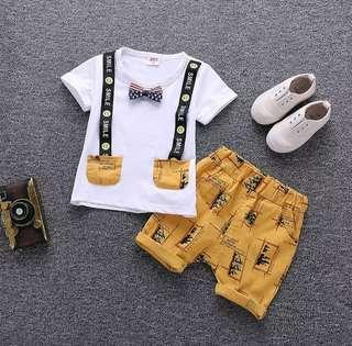 🌟PM for price🌟 🍀Baby Boy Short Sleeves Top+Shorts 2pcs Set🍀