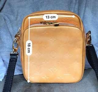 Authentic louis vuitton vernis wooster yellow gold sling bag bum bag