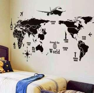 Map of the world wall decal sticker