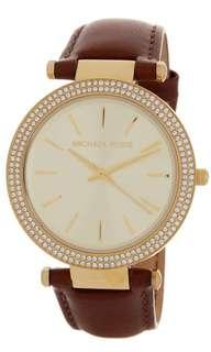 BRAND NEW MICHAEL KORS Darcy Crystal Embellished Leather Watch, 38mm