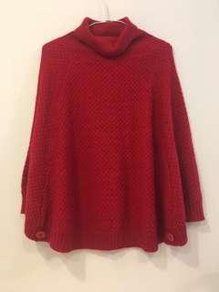 紅高領針織斗篷