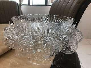 Glass Bowl with 11 decorative glass