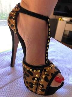 Animal Print, gold studded Peep-toe