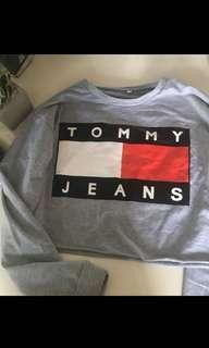 Tommy crew neck cropped jumped