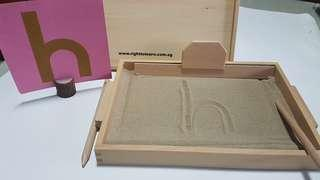 WOODEN SAND TRAY & LOWERCASE SANDPAPER PACKAGE