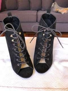 Forever New, black suede peep-toe lace up ankle booties