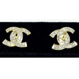 20K Gold Diamond Channel Earrings