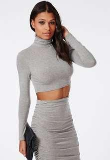 Grey missguided mock neck top - size small