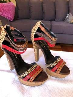 Animal print strappy heels