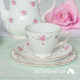 Pretty vintage pink ditsy rose English bone china tea trio
