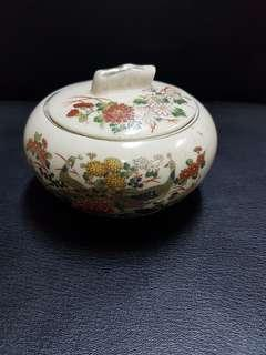 Porcelain Japan peacock container with lid