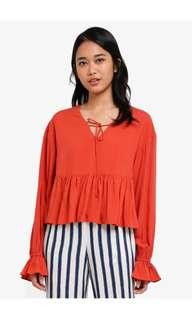 Something Borrowed Tie Front Red Brick Flutter Sleeves Baby Doll Top