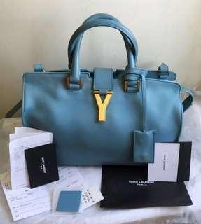 YSL Cabas手提斜肩背包(原價80000元);水藍色顏色很美,讓人覺得心曠神怡!(大全配)🙋特價!