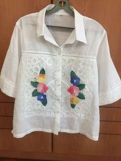Women 100% linen white blouse with embroidery and lace