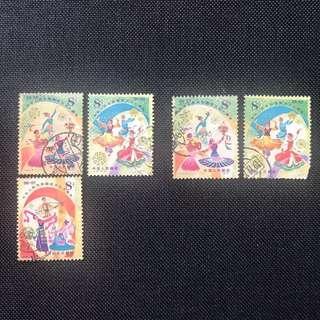 中國郵票 J 47 中華人民共和國成立30周年 5枚蓋銷票