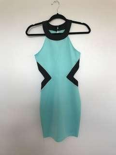 Blue and Black Side Cut Out Dress