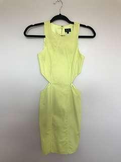 Bardot Neon Yellow Side Cut Out Dress