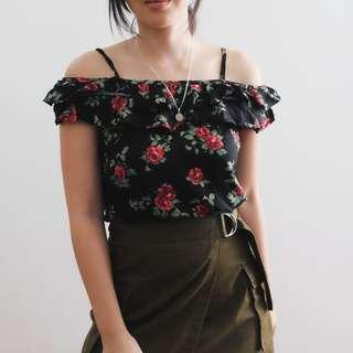 B23 Black Floral Strappy OFTS