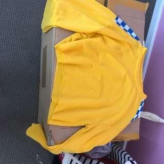 Yellow checkered crop top