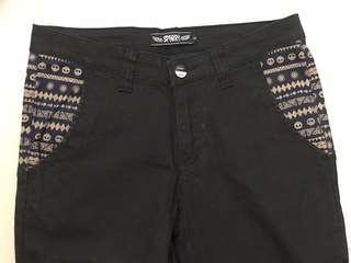 民族花紋袋黑色長褲