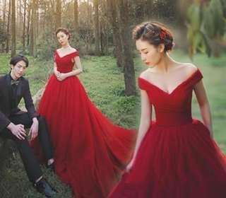 Wedding Dress red off shoulder down