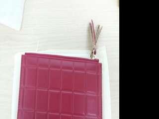 [全新]韓板長款薄款紅色格子小清新散紙拉鏈錢包