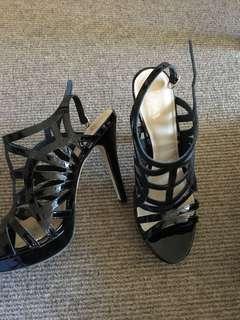 Wittner black strappy heels